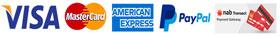 American express, master card, nab, Paypal, visa