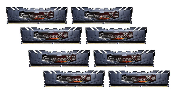 G.skill Flarex 128gb Kit (8x16g) Pc4-19200 Ddr4 2400mhz 15-15-15-39  ( F4-2400c15q2-128gfx )
