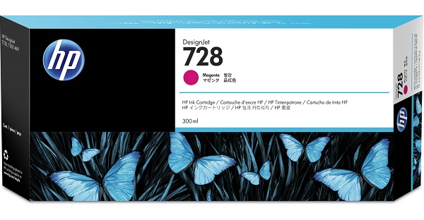 Hp 728 300-ml Magenta Designjet Ink Cartridge ( F9k16a )