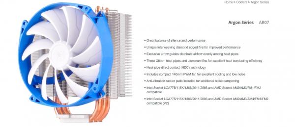 SILVERSTONE  Ar07 14cm Pwm 3 Heatpipe Cpu Cooler G530AR07S410010