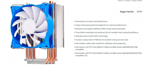 SILVERSTONE  Ar08 92mm Pwm 3 Heatpipe Cpu Cooler G530AR08S410010