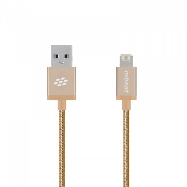 Mbeat  'toughlink' Gold 1.2m Metal Braided Mfi Lightning Cable MB-ICA-GLD