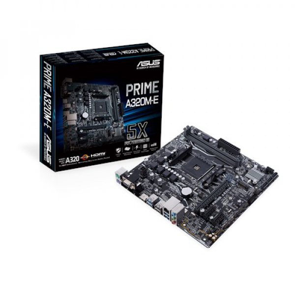 Asus AMD AM4 UATX Motherboard with LED Lighting DDR4 3200MHz (PRIME A320M-E)