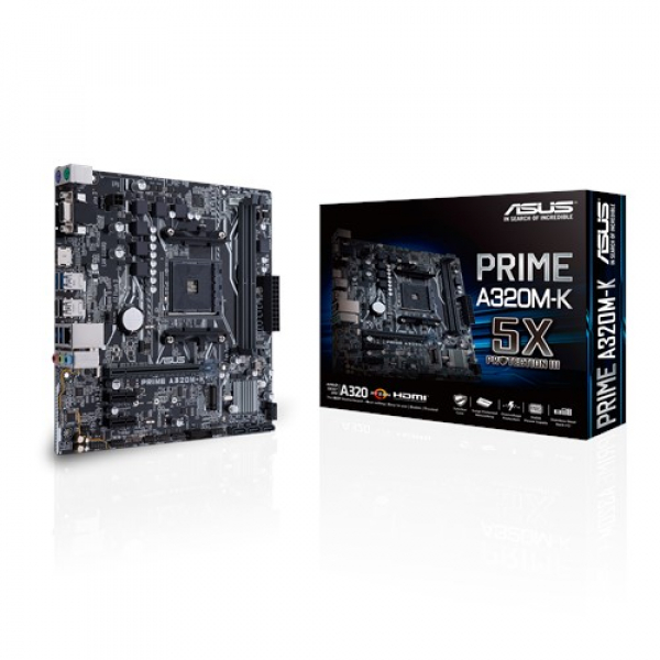 Asus AMD AM4 uATX Mother Board with LED lighting, DDR4 3200MHz (PRIME A320M-K)