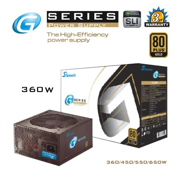 SEASONIC G Series 360w Power Supply PSUSEAHEG360W