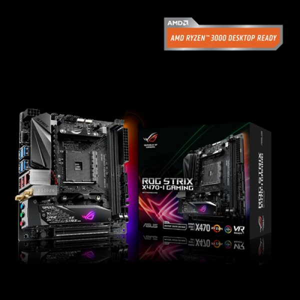 Asus Am4 Motherboard with M.2 Heatsink Aura Sync RGB LED Lighting DDR4 3600MHz Support (ROG Strix X470-i Gaming)