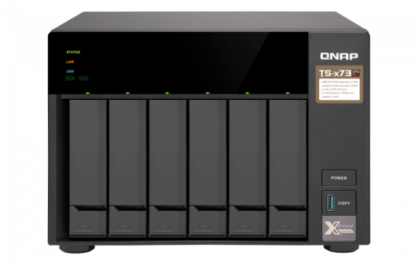 Qnap 6 Bay Nas (No Disk)M.2 SSD Slot(2) 4GBRX-421NDG Network Storage (TS-673-4G)