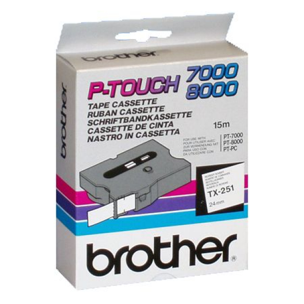 BROTHER 24mm Black On White Tx Tape ( Tx-251 TX-251