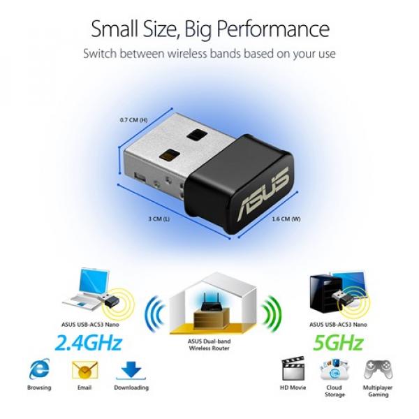 Asus AC1200 Wireless USB Adapter (USB-AC53 Nano)