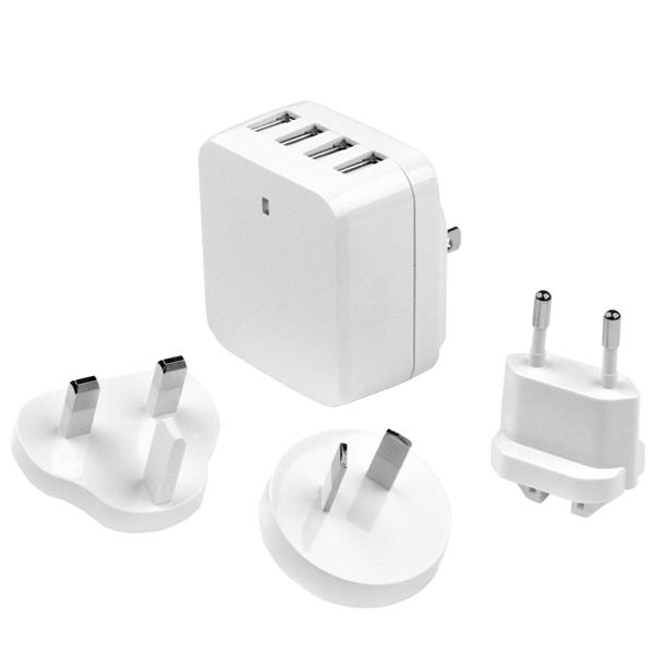 STARTECH 4-Port USB Wall Charger - International Travel 34W /6.8 (USB4PACWH)