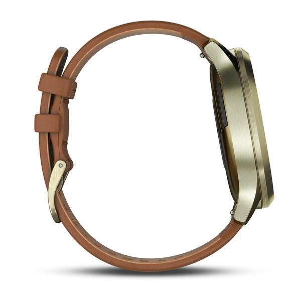 Garmin Vivomove HR Premium Light Gold Case with Light Brown Leather Band (Small/Medium) (010-01850-15)