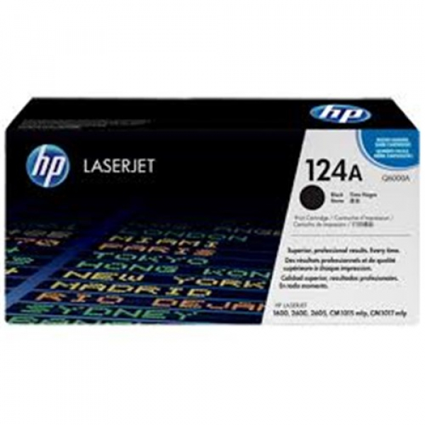 Hewlett Packard Hp 124a Black Toner 2500 Page Yield For Clj 1600 2600 & 2605 (Q6000A)