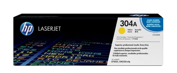 Hewlett Packard Hp Yellow Toner 2800 Page Yield For Clj Cp2025 Cm2320 Mfp (CC532A)