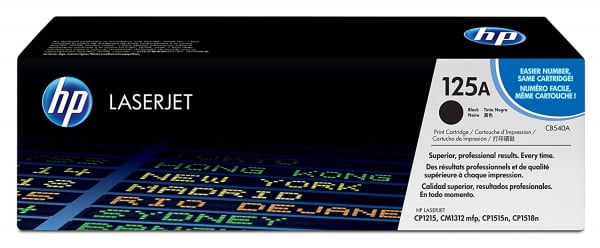 Hewlett Packard Hp 125a Black Toner 2200 Page Yield For Clj Cm1312 Cp15xx (CB540A)