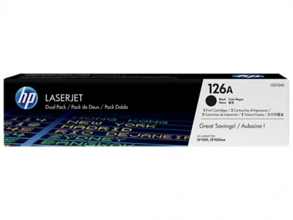 Hewlett Packard Hp 126a Black Dual Pk Lj Toner Cartridge (CE310AD)