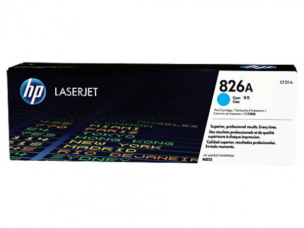 Hewlett Packard Hp 826a Cyan Lj Toner Cart Cartridge For M855dn/m855x+ /m855xh-31.5k Yield (CF311A)