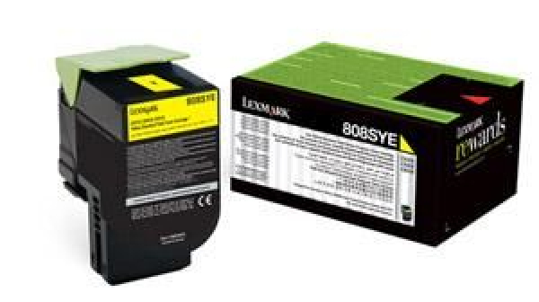 Lexmark 808sye Yellow Stanadrd Yield Toner Cartridge Corporate Cartridge 2k Cx310/410/51 (80C8SYE)