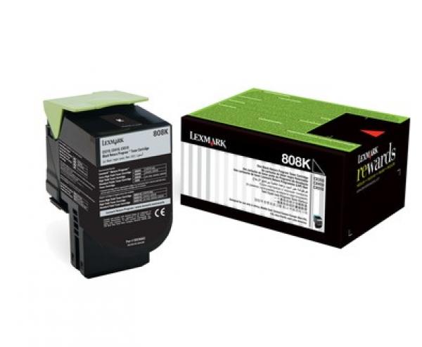 Lexmark 808k Black Return Toner Cartridge 1k Cx310/410/510 (80C80K0)