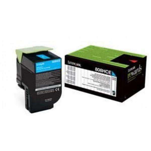 Lexmark 808hce Cyan High Yield Corporate Toner Cartridge 3k Cx410/cx510 (80C8HCE)