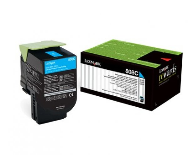 Lexmark 808c Cyan Return Toner Cartridge 1k Cx310/410/510 (80C80C0)