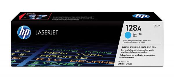 Hewlett Packard Hp 128a Cyan Toner 1.3k For Clj Pro Cp1525 Cm1415 (CE321A)
