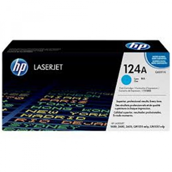 Hewlett Packard Hp 124a Cyan Toner 2000 Page Yield For Clj 1600 2600 2605 (Q6001A)