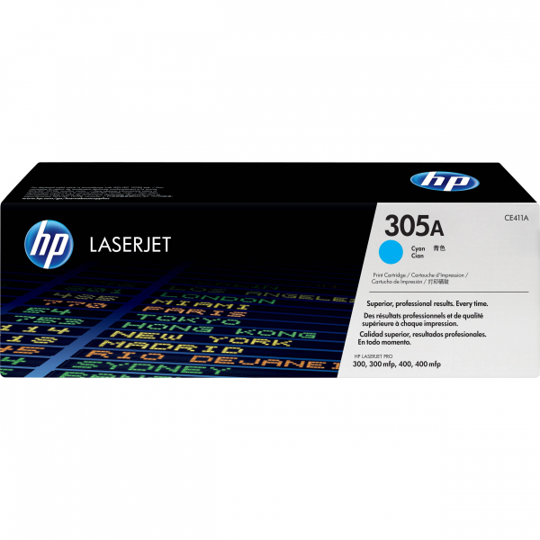 Hewlett Packard Hp 305a Cyan Toner 2600 Page Yield For M451 M375 M475 (CE411A)
