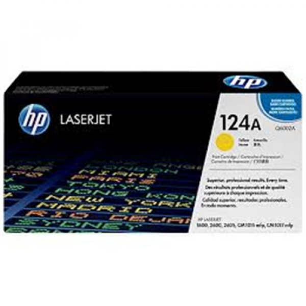 Hewlett Packard Hp 124a Yellow Toner 2000 Page Yield For Clj 1600 2600 2605 (Q6002A)