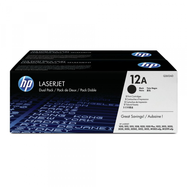 Hewlett Packard Hp 12a Black Dual Toner Pack 2x 2000 Page Yield For Lj 10xx 30xx M1319f (Q2612AD)