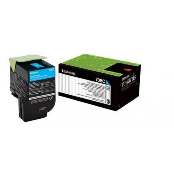 Lexmark 708c Cyan Return Toner Cartridge 1k Cs310/cs410/ Cs510 (70C80C0)