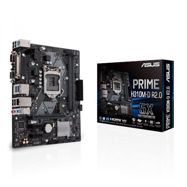 Asus Prime-H310M-D-R2-0-Csm Matx Motherboard LGA-1151 With LED Lighting (PRIME H310M-D R2.0/CSM)