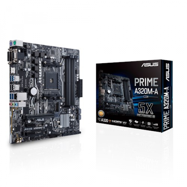 Asus Prime-A320M-A-Csm Matx Motherboard AMD AM4 UATX With LED Lighting (PRIME A320M-A/CSM)