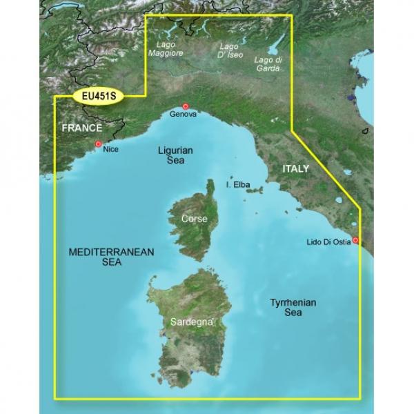 GARMIN MicroSD/SD Card: VEU451S-Ligurian Sea Corsica And Sardinia (010-C0795-00)