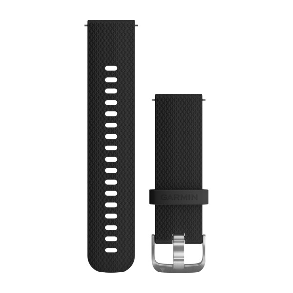 GARMIN Quick Release Band Black Silicone Band With Silver Hardware (010-12561-02)