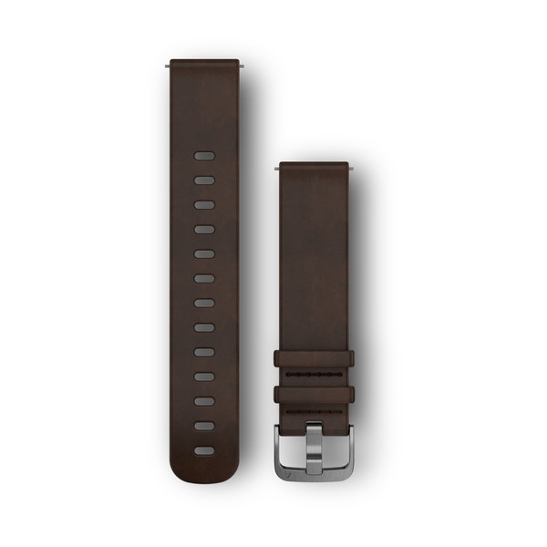 GARMIN Quick Release Band Dark Brown Leather Band With Silver Hardware (010-12691-01)