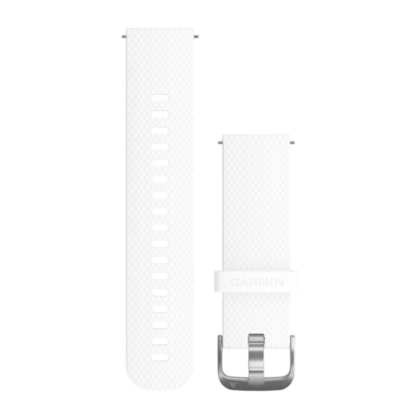 GARMIN Quick Release Band White Silicone Band With Silver Hardware (010-12561-04)