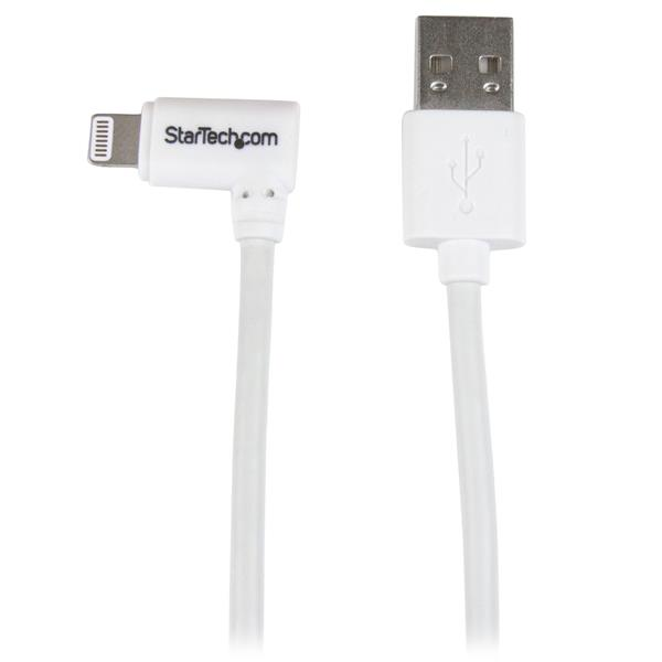 Startech 3ft Angled Lightning To Usb Cable White (USBLT1MWR)