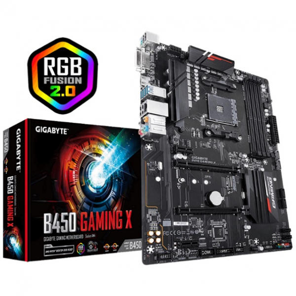 Gigabyte B450 Gaming X Lga1151 9gen Atx Mb 4xddr4 6xpcie Hdmi 2xm.2 6xsata Raid Intel Gbe (GA-B450-GAMING-X)