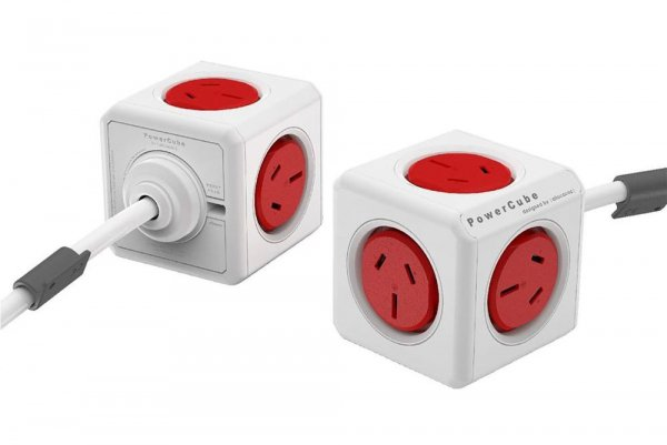 Allocacoc Powercube Extended Boston Red 5 Outlets With 3m Cable (ELEWES5304AUEXPC)