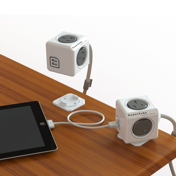 Allocacoc Powercube Extended Usb Grey 4 Outlets 2 Usb 1.5m With Cable (twin Pack) (ELEAUS5400AUEUPCX2)