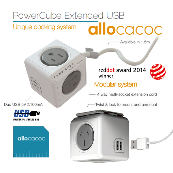 Allocacoc Powercube Extended Usb Powerboard 4-outlets 2 Usb Ports Grey-white 1.5m (ELEAUS5400AUEUPC)