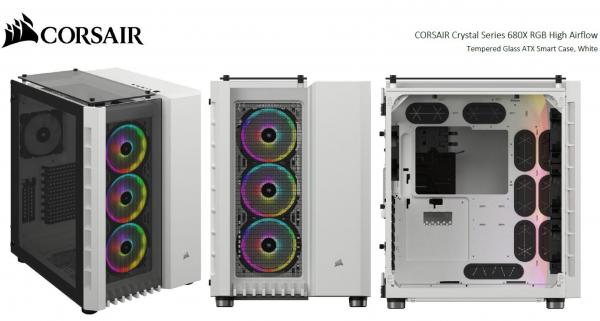 Corsair Crystal Series 680x Rgb High Airflow Tempered Glass Atx Smart Cas (CC-9011169-WW)