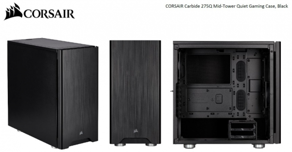 Corsair Carbide Series 275q Mid-tower Quiet Atx Case 2x 3.5 4x 2.5. Up  (CC-9011164-WW)