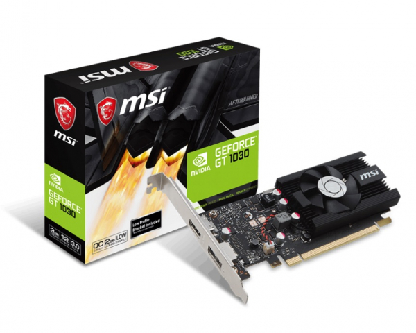 Msi Nvidia Low Profile Video Card - Gddr5 Dp/hdmi 1265/1518mhz (GT 1030 2G LP OC)