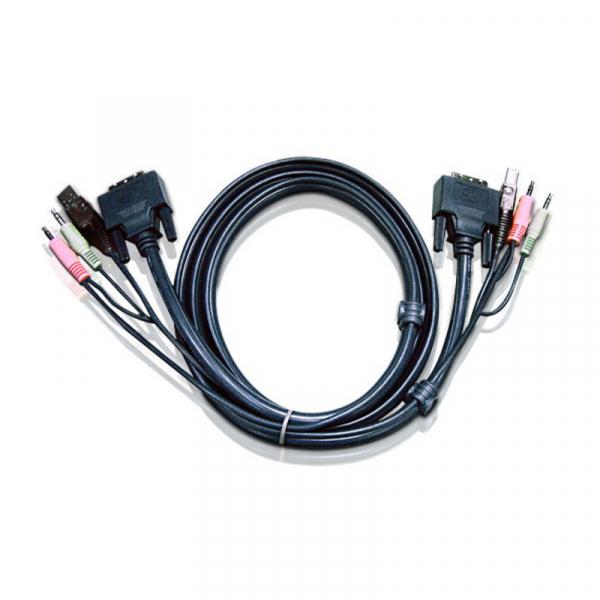 ATEN  1.8m Dvi Kvm Cable With Audio To Suit 2L-7D02U