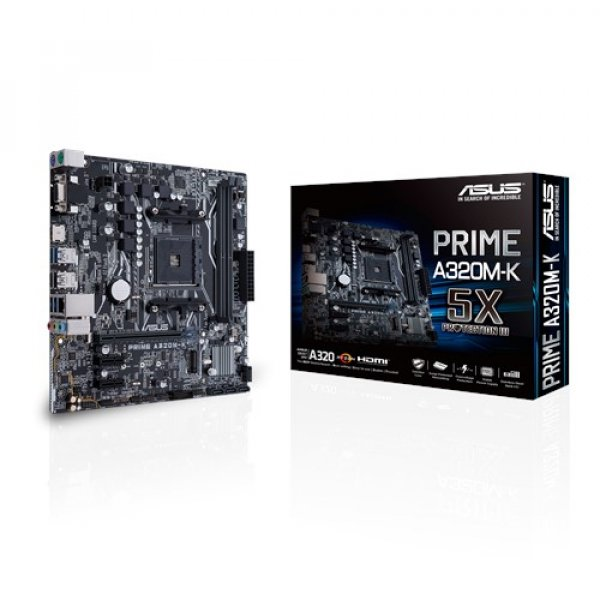 Asus Amd A320 Chipset Am4 Socket For Ryzen 2 X Dimms Max. 32gb Multi-vga Hdmi R  Motherboard (PRIME-A320M-K)