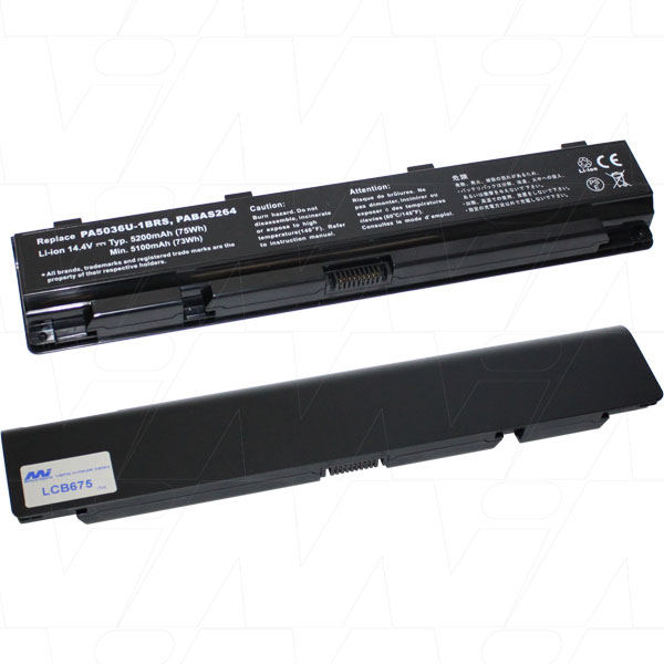 Mi Battery 14.4v 74.88wh / 5200mah Liion Laptop Battery Suit. For Toshiba (LCB675)