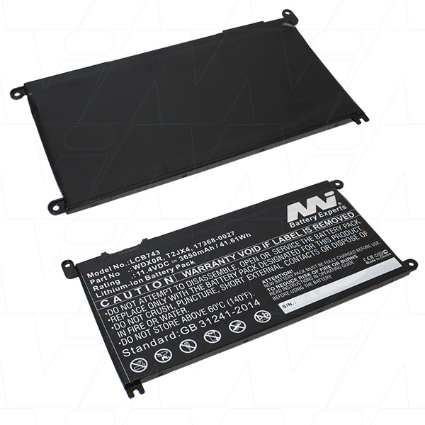 Mi Battery 11.4v 41.61wh / 3650mah Liion Laptop Battery Suit. For Dell (LCB743)