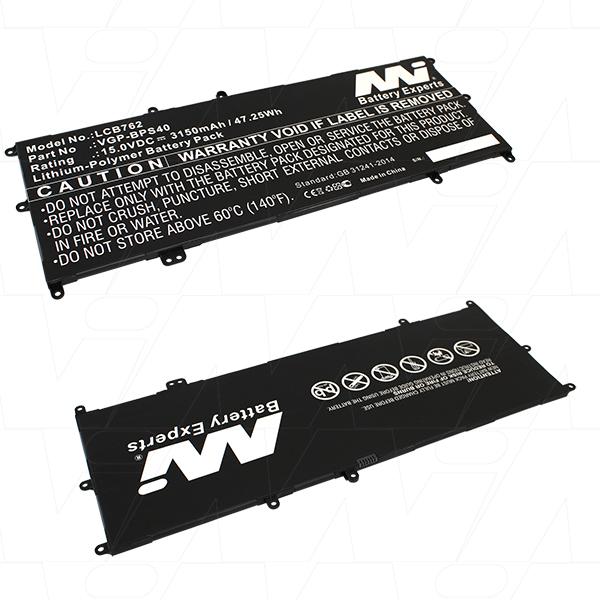 Mi Battery 15v 47.25wh / 3150mah Lipo Laptop Battery Suit. For Sony (LCB762)