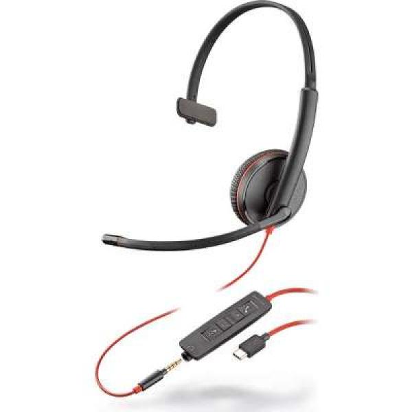 Poly Plantronics Blackwire C3215 Uc Mono Usb-c & 3.5mm Corded Headset (209750-101)